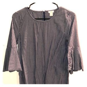J. crew striped chambray dress w flare sleeves